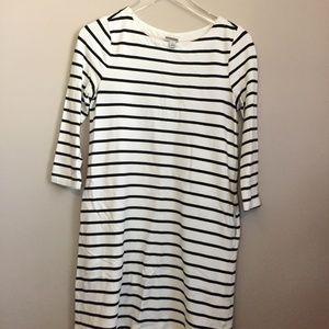 Striped 3/4 Sleeve Shift Dress